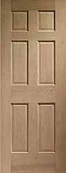 Oak Internal Colonial 6 Panel With No Raised Mouldings